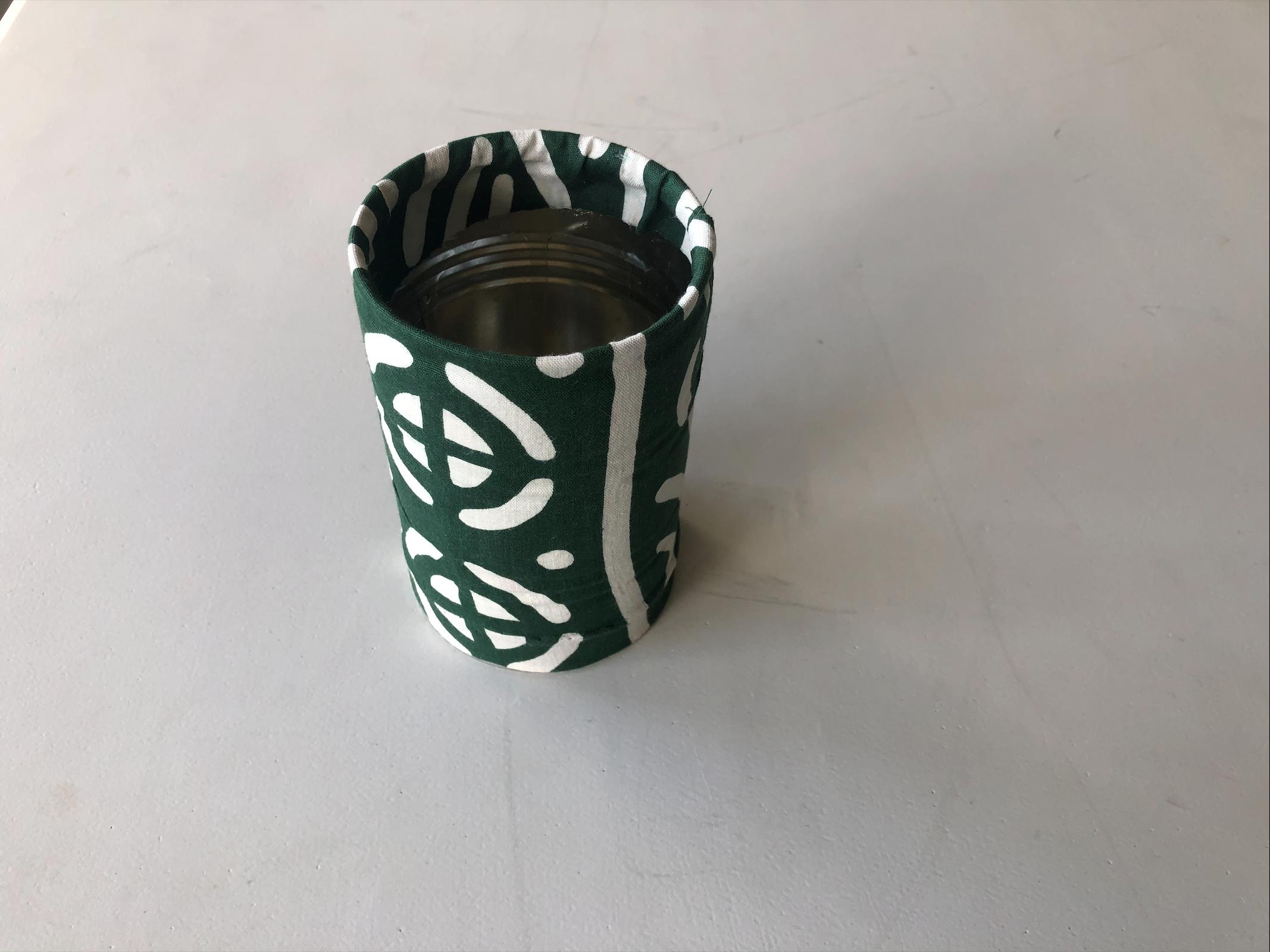 customiser boites de conserve, tuto, tissu, la pousse verte