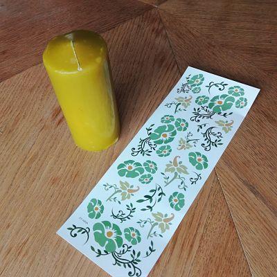 bougie verte dessins fleuris transfert