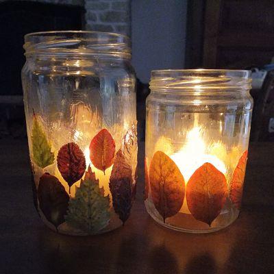 photophore bougie feuilles automne