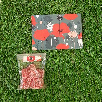 cadeau coquelicot fleurs bonbons illustration