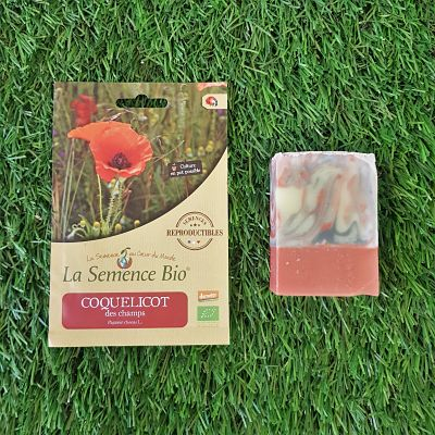 cadeau coquelicot fleurs graines savon